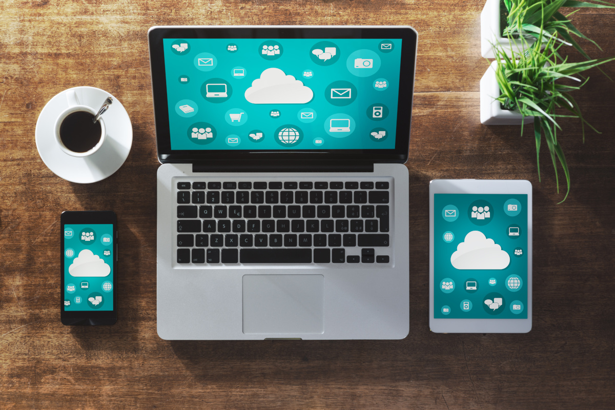 Multiple devices, a smart phone, laptop and tablet, using the cloud