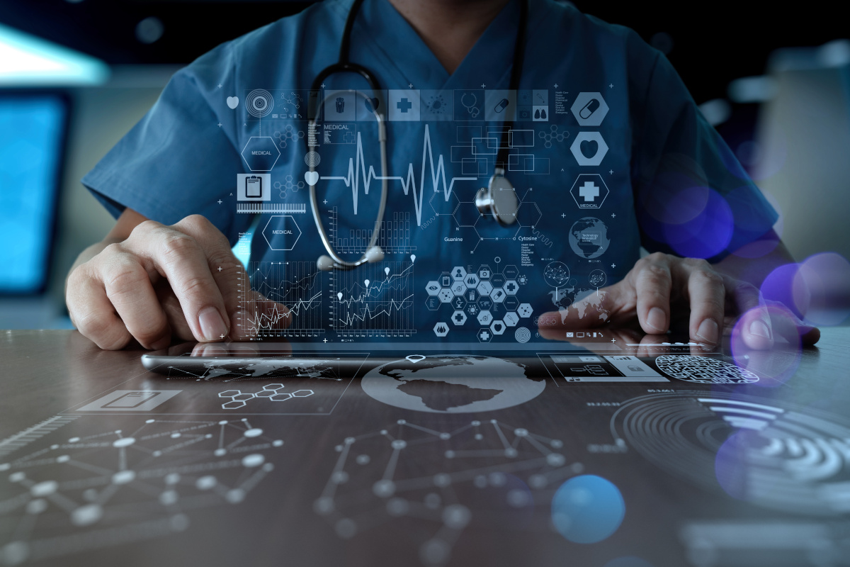 Doctor using modern computer interface as medical data concept.