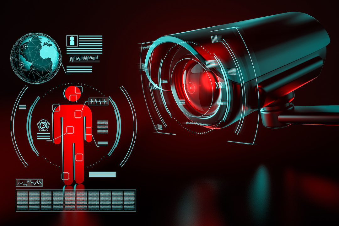 Surveillance security camera focused on human icon metaphor data collection red black