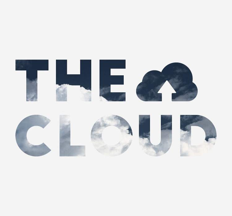 'The Cloud' Lettering Cut Out of White Background with Blue Sky and Clouds Showing Through
